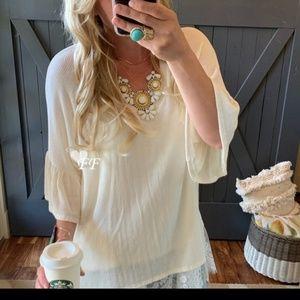 Ruffle sleeve v-neck blouse Cream